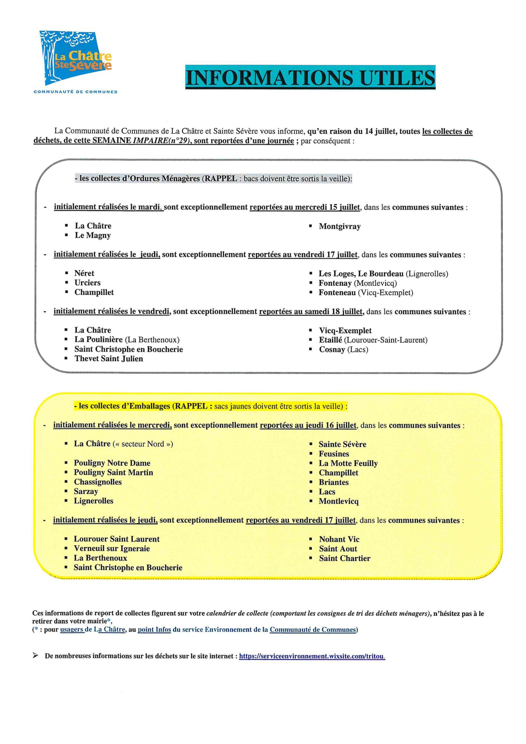 INFORMATION RAMASSAGE ORDURES MENAGERES
